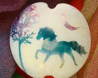 "Handmade Lampwork Focal Bead ""Misty Horse"" SRA Sandblasted Glass ~ Iridescent Lustre Picture Bead ~ Cool Neutrals"