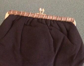 Versatile vintage black chain / clutch purse, vintage pouch clutch
