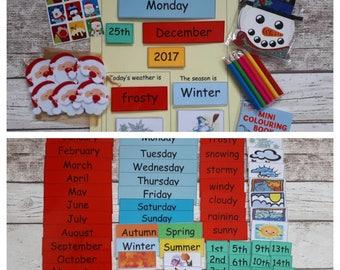Interactive calendar for children, Christmas gift, stocking filler, Montessori calendar, perpetual calendar, interactive teaching resource