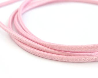 Light pink round waxed 3mm polyester cord
