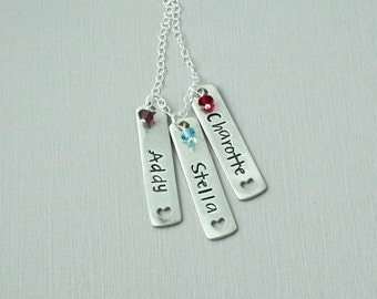 Mother's necklace Hand stamped, personalized name necklace, birthstones, Grandmother's necklace