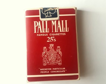 Vintage Pall Mall Playing Cards, Famous Cigarettes 25's, Tobacciana, Full Deck, Boxed, Card Game (2085-17)