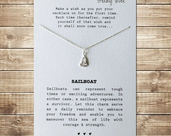 SAILBOAT - Wish Necklace - Sterling Silver Charm & Chain
