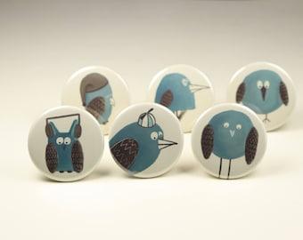 Bird Button Pin or Fridge Magnet Gift Set, Bird Fridge Magnet Set, Bird Backpack Pins, Owl Badges, Bird Pins, Bird Fridge Magnets
