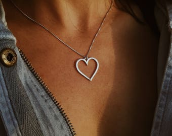 Sterling Silver Heart Necklace, Heart Necklace, Silver Heart, Heart Pendent, Love Necklace, Heart Choker, Minimal, Dainty Necklace, Choker