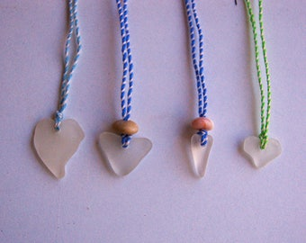 Sea glass heart pendant necklace, Natural sea glass jewelry, Handmade Love gift, Valentine gift, Kids jewelry, Heart shape sea glass