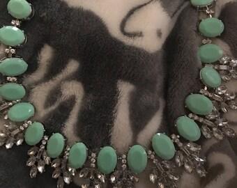 Teal bib statement necklace