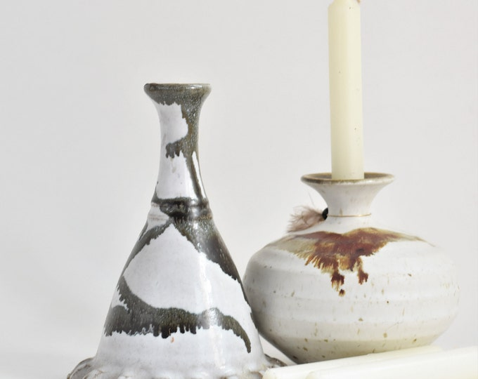 tall off white grey brown stoneware glazed candleholder / candlestick holder
