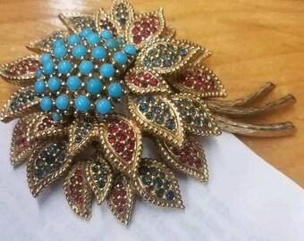 "Vintage Large 3"" Ciner Rhinestone turquoise Flower Pin Brooch Gold Tone"