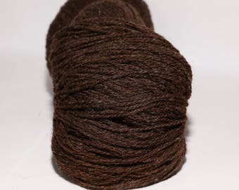KAUNI Undyed Wool Yarn, Worsted Weight 8/2  2ply, 100% wool Brown