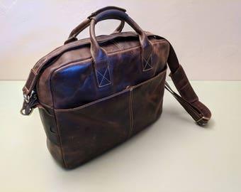 Tiding Leather Messenger-Laptop Bag 16in