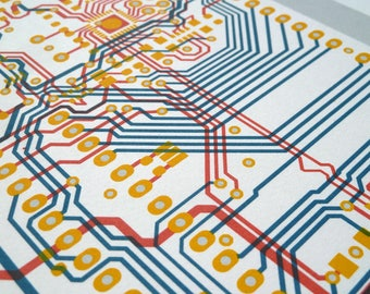 Arduino UNO circuit board screen print in blue, red and yellow - microcontroller silkscreen art