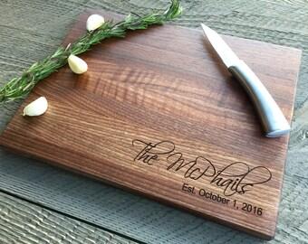 Custom Cutting Board, Personalized Cutting Board, Engraved Cutting Board, Wedding Gift, Anniversary Gift, Walnut, Butcher Block