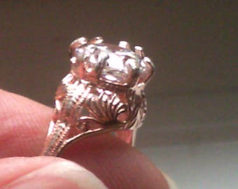 Rose Gold Antique Old European Cut  Reproduction Engagement Ring