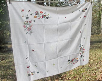 Vintage Hand Embroidered Tablecloth - Coarse White Cotton