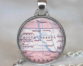 South Dakota map pendant, South Dakota map necklace, state map jewelry South Dakota necklace keychain key chain key ring key fob