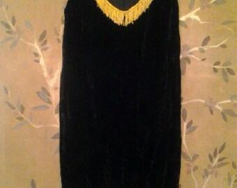 Black Velvet fringed dress