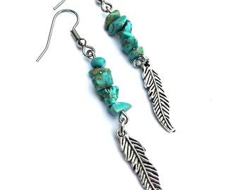Turquoise Jewelry, Feather Earrings, Ethnic Earrings, Tribal Jewelry Women, Earrings, Jewelry, Gypsy Earrings, Boho Earrings, Bohemian