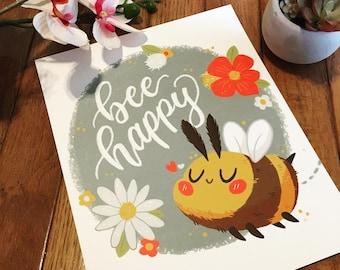 Bee Happy 8x10 Art Print   Cute Bee Art   Illustration