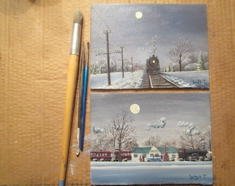 """Two 6x8"""" Miniature Paintings  Full Moon Rising and The Station"""