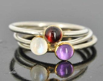 Garnet ring, Gold bezel, gemstone ring, stacking ring, january birthstone ring, personalized ring, bridesmaid ring, bridesmaid gift