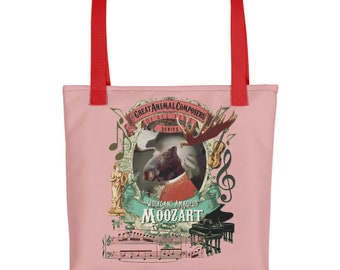 Cool moose Wolfgang Amadeus Mozart classical music tote bag
