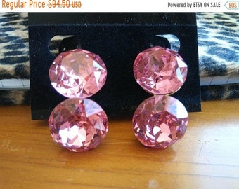 ON SALE Signed VOGUE Vintage Headlight Pink Rhinestone Earrings * Old Hollywood Glam * Retro Rockabilly  * Statement Jewelry