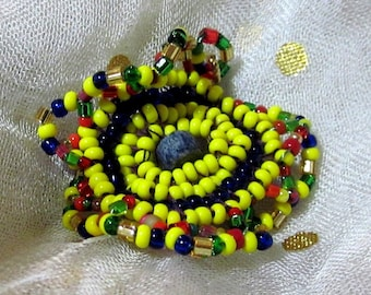 Yellow Dark Blue Red Green Wavy Curly Edged Ornament Pendant