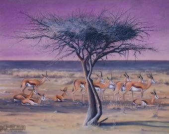 AFRICAN landscape drawing of ANTELOPE (Springbok) ART buck doe Wildlife Chalk Pastel illustration purple yellow green natures passion tree