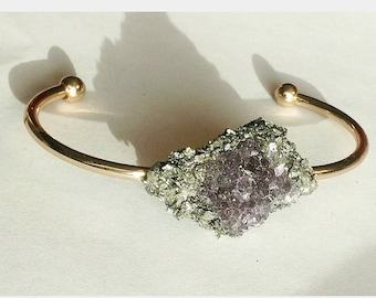 Amethyst and crushed pyrite gold cuff bangle