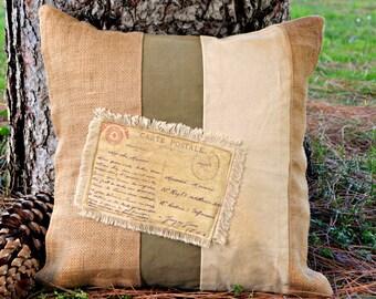 """Rustic pillow ~ Decorative pillow 18x18 ~Burlap, Canvas, Grainsack, Cabin, Cottage, Lake House  """"CARTE POSTALE"""" Home Decor, Cabin Decor"""