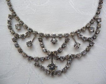 Vintage Diamante Costume Necklace and Earrings