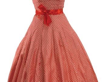 1950s Watermelon Pink & White Polka Dots Cotton Dress  - 50s Dress