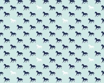 Riley Blake - Derby Horses Aqua - by the yard