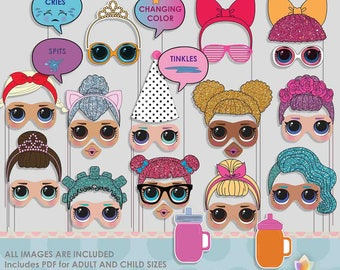 Little Dolls Photo Booth Props for colorful doll party