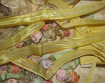 "FRENCH Antique Early 1920's Era Yummy Yellow OMBRE  Ribbon Trim ~ Half yard ~ 13/16"" wide"