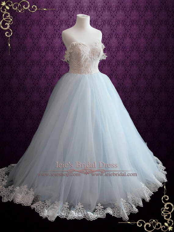 Light Blue Wedding Dress With Lace Bodice Ball Gown Wedding