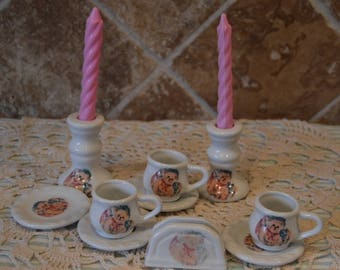 Teddy Bear Child's Tea Set~Cups~Saucers~Candleholders~Napkin Holder~Adorable