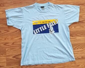 Screen Stars Best Vintage 80's 90's Little Falls Plane T-shirt 50/50 Blend Large