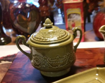 SUGAR ONLY - Vintage Canonsburg Pottery - Regency Green - Ironstone with Embossed Urns