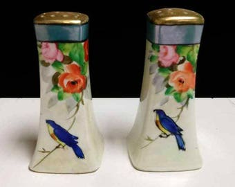 Vintage Japanese Porcelain Salt and Pepper Shakers-Bluebird and Roses