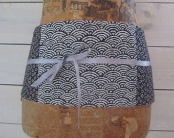 Wide obi belt, mini-corset patchwork of fabrics: seigaiha motif, Navy Blue sakuramon