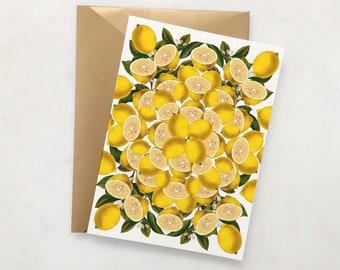 Lemons Greeting Card // Lemonade Print Card // Lemon Blank Inside Card // BFF Card // Friend Single Card // Lemon Botanical Print Card Set