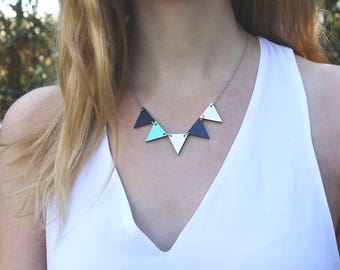 Pennant Wood Necklace // Navy and Mint Bunting Necklace // Reversible // Wood Necklace // Geometric Necklace // Blue Statement Bib