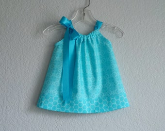 Baby Girls Turquoise Sun Dress - Floral Dress and Bloomers Outfit - Turquoise and Aqua Pillowcase Dress - Size Nb, 3m, 6m, 9m,12m or 18m