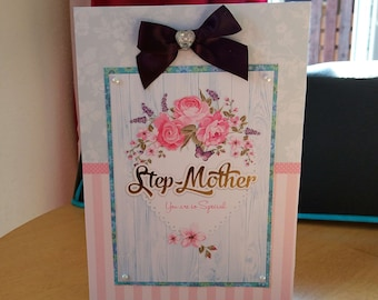 Step Mother Birthday Card - luxury quality bespoke UK handmade