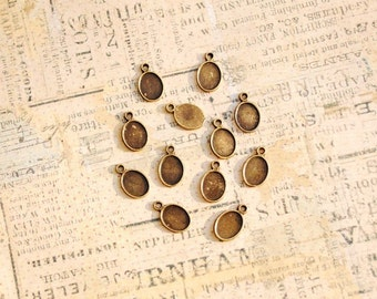 30 Antique Bronze Oval Tag Charms, blank