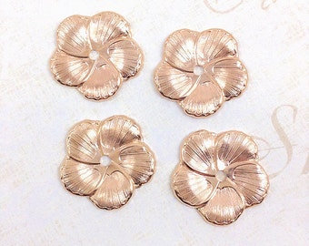 Rose Gold Flower, Brass Flower, Flower Stamping, Headpiece Supply, Flower Embellishment, Brass Stamping, 23mm - 4 pcs. (rg332)