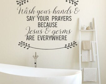 Bathroom Wall Decor, Bathroom Decor, Black, Bathroom Wall Decals, Jesus And  Germs
