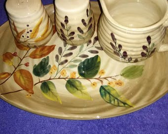 Vintage. Gibson home trend's platter with pitcher and salt and pepper shakers. Fall design.